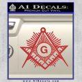 Freemason Masonic G Decal Sticker Red 120x120