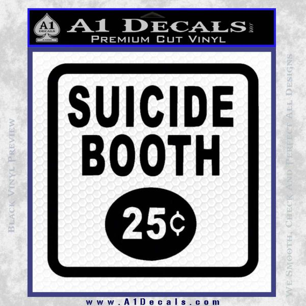 Futurama Suicide Booth Sign Decal Sticker Black Vinyl