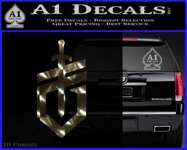 Gerber Knives Decal Sticker New Shield 3DChrome Vinyl