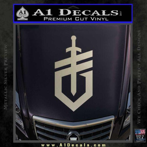 Gerber Knives Decal Sticker New Shield Metallic Silver Emblem
