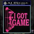 I Got Game Compound Bow Archery Deer Decal Sticker Pink Hot Vinyl 120x120