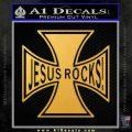 Jesus Rocks Iron Cross Decal Sticker Gold Vinyl 120x120
