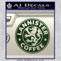 Lanister Coffee Game Of Thrones Starbucks Decal Sticker Dark Green Vinyl 120x120