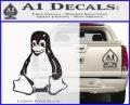 Linux Penguin Decal Sticker Carbon FIber Black Vinyl 120x97
