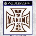Marine Iron Cross Decal Sticker BROWN Vinyl 120x120