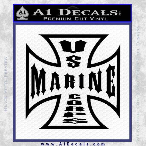 Marine Iron Cross Decal Sticker Black Vinyl