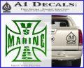 Marine Iron Cross Decal Sticker Green Vinyl Logo 120x97