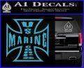 Marine Iron Cross Decal Sticker Light Blue Vinyl 120x97