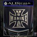 Marine Iron Cross Decal Sticker Metallic Silver Emblem 120x120
