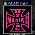 Marine Iron Cross Decal Sticker Pink Hot Vinyl 120x120