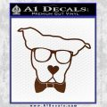 Nerd Dog geek Decal Sticker BROWN Vinyl 120x120