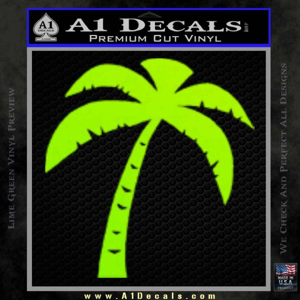 Palm Tree Decal Sticker Classic Lime Green Vinyl