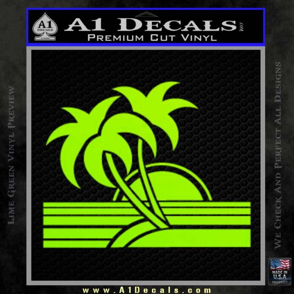 Palm Trees Decal Sticker 80s Lime Green Vinyl