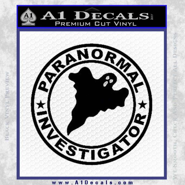 Paranormal Investigator Decal Sticker Ghost Black Vinyl