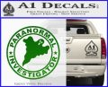 Paranormal Investigator Decal Sticker Ghost Green Vinyl Logo 120x97