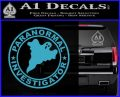 Paranormal Investigator Decal Sticker Ghost Light Blue Vinyl 120x97