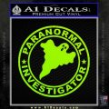 Paranormal Investigator Decal Sticker Ghost Lime Green Vinyl 120x120