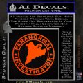 Paranormal Investigator Decal Sticker Ghost Orange Emblem 120x120