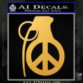 Peace Grenade Decal Sticker Gold Vinyl 120x120