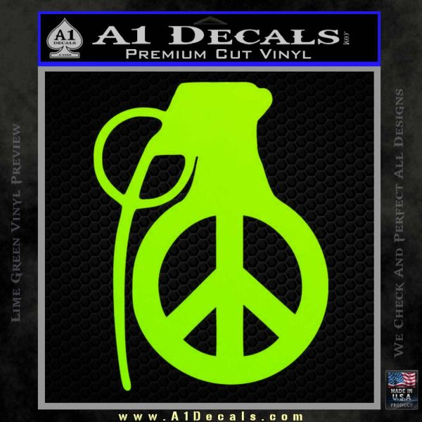 Peace Grenade Decal Sticker Lime Green Vinyl