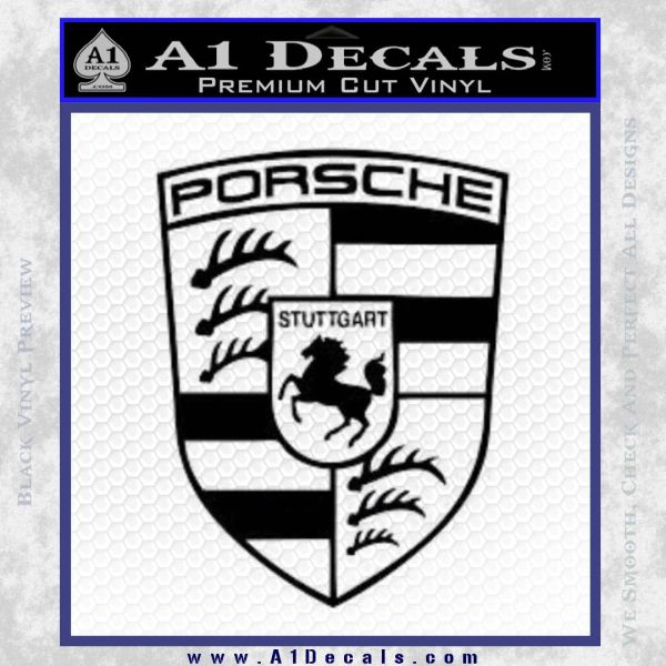 Porsche Decal Sticker Black Vinyl
