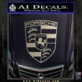 Porsche Decal Sticker Metallic Silver Emblem 120x120