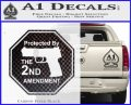 Protected By The 2nd Amendment Decal Sticker Carbon FIber Black Vinyl 120x97