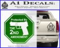 Protected By The 2nd Amendment Decal Sticker Green Vinyl Logo 120x97