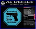 Protected By The 2nd Amendment Decal Sticker Light Blue Vinyl 120x97