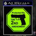 Protected By The 2nd Amendment Decal Sticker Lime Green Vinyl 120x120
