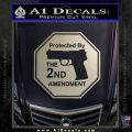 Protected By The 2nd Amendment Decal Sticker Metallic Silver Emblem 120x120
