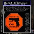 Protected By The 2nd Amendment Decal Sticker Orange Emblem 120x120
