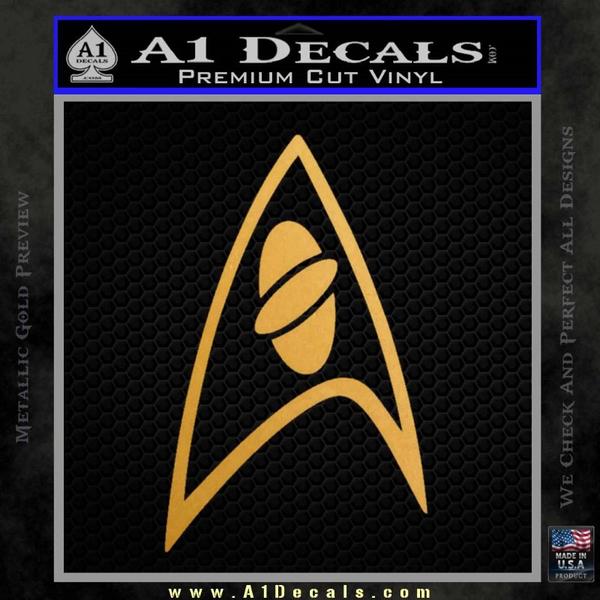 Star Trek Insignia Sciences Decal Sticker Gold Metallic Vinyl