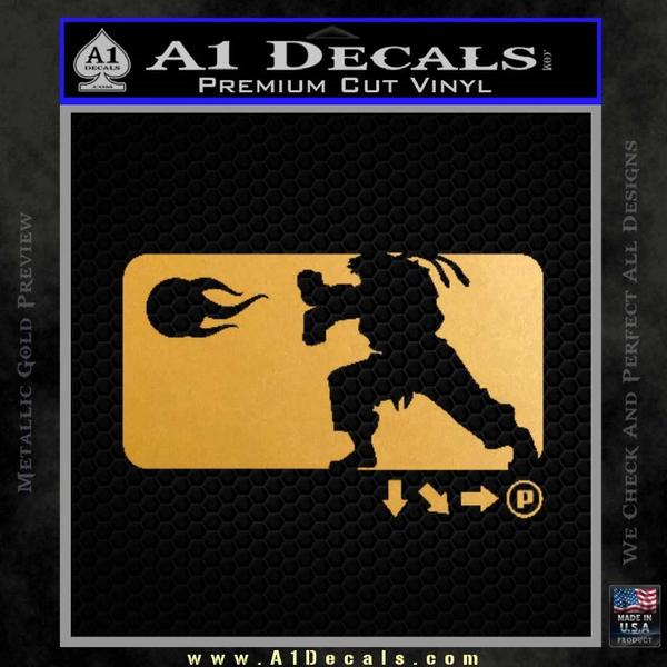 Street Fighter Haudouken D1 Decal Sticker Gold Metallic Vinyl