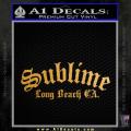 Sublime Long Beach California Decal Sticker Gold Metallic Vinyl 120x120