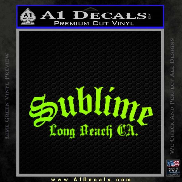 Sublime Long Beach California Decal Sticker Neon Green Vinyl