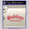Sublime Long Beach California Decal Sticker Red Vinyl 120x120