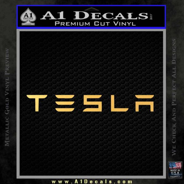 Tesla Logo Wide Decal Sticker Gold Vinyl