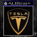 Tesla Motors Emblem Decal Sticker Gold Metallic Vinyl 120x120