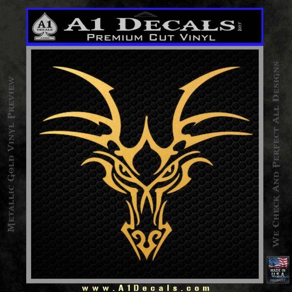 Tribal Dragon Head Decal Sticker D1 Gold Vinyl