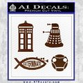 Doctor Who Decal Sticker 4pk BROWN Vinyl 120x120