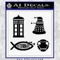 Doctor Who Decal Sticker 4pk Black Vinyl 120x120