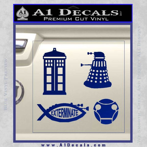 Doctor Who Decal Sticker 4pk Blue Vinyl