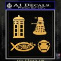Doctor Who Decal Sticker 4pk Gold Vinyl 120x120