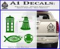 Doctor Who Decal Sticker 4pk Green Vinyl Logo 120x97