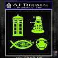 Doctor Who Decal Sticker 4pk Lime Green Vinyl 120x120