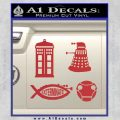 Doctor Who Decal Sticker 4pk Red 120x120