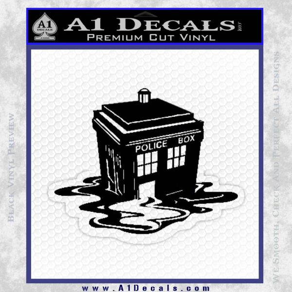 Doctor Who Melted Tardis Decal Sticker Black Vinyl