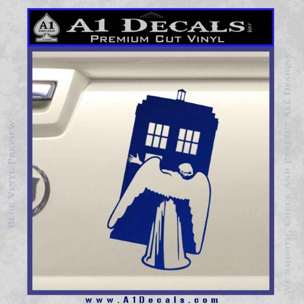 Doctor Who TARDIS Angel Decal Sticker Blue Vinyl