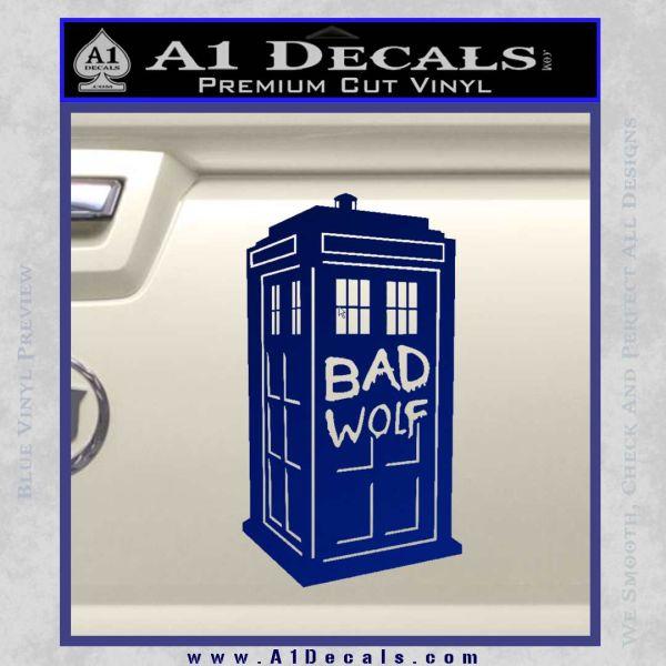 Doctor Who TARDIS Bad Wolf Decal Sticker Blue Vinyl